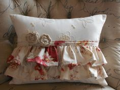 I can hardly stand to look at it. Ridiculously adorable. It's hurting my eyes!  Ruffled Cottage Style Lumbar Decorative Pillow by sherrisboutique, $45.00