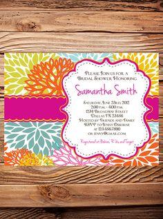 Bridal shower invitation, floral wedding shower Invitation, event invitation floral, Invite,  pink, digital, printable file love bright colours