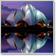 Lotus Temple of the Baha'i, in New Delhi, is shaped like a giant lotus flower nesting in pools of water.