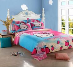 Hello Kitty Bedding Set Children Cotton Bed sheets Hello Kitty Duvet Cover Bed…