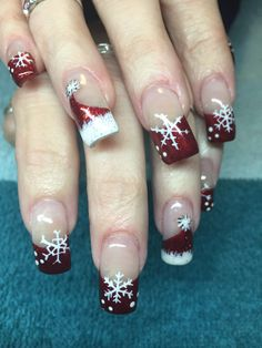 #Christmas red #Santa hat #nails #nailart