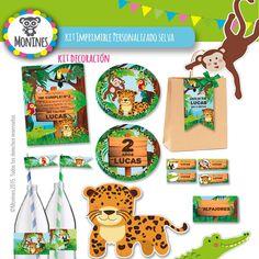 Kit Imprimible Cumpleaños Candy Bar Selva, $120 en https://ofelia.com.ar