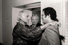 Leonard Bernstein, Isaac Stern and Itzhak Perlman backstage (Carnegie Hall?)