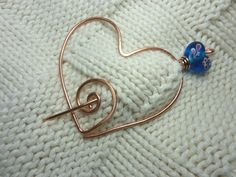 Copper Shawl Pin- Queen of Hearts