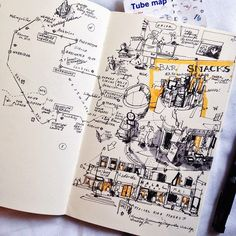 nexttoparchitects: by syukrishairi Its always lovely the idea of how London is composed of many smaller villages. Makes a lot of room for exploration. Travel Sketchbook, Arte Sketchbook, Sketchbook Pages, Sketchbook Layout, Doodle Sketch, Drawing Sketches, Art Drawings, Drawing Art, Sketch Journal