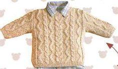 [Tricot] Der irische beige Pullover – The Knitting Shop und Creative Leisure … Crochet Baby, Knit Crochet, Pull Beige, Bordados E Cia, Boys Sweaters, Beige Sweater, Sweater Knitting Patterns, Knitting For Kids, Baby Patterns