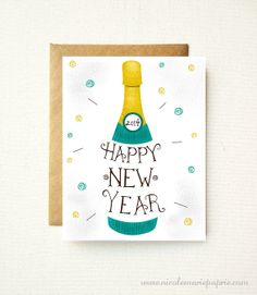 Happy New Year 2014 Greeting Card - Champagne Bottle - Illustrated Hand Lettering Typography