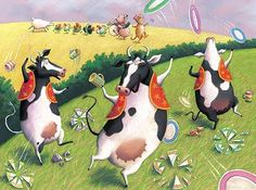 Juggling cows
