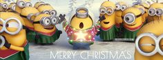 Minions Celebrating Merry Christmas Facebook Cover