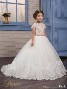 Simple Wedding Dresses For Flower Girls Pentelei Cheap With Short Sleeves And Pearls Beaded Belt Appliques