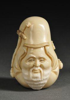 "Ivory Netsuke, Japan, carved as Jurojin, signed ""Tomomasa,"" lg. 2 1/8 in."