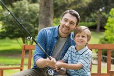 Smiling father and son fishing while sitting on park bench ...  30s, Family with One Child, Mid Adult, One Parent, bench, boy, casual, caucasian, child, childhood, family, father, fishing, fishing rod, happy, holding, kid, leisure, lifestyle, male, man, outdoors, parenthood, park, recreation, relationship, relaxation, rod, sitting, smile, smiling, son, together, togetherness, trees, vacation, weekend