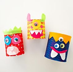 Add some monster fun to your Halloween decorating ideas with these Adorable Tin Can Monsters. Recycled crafts like these are perfect for your kids to do because they get to use materials that you probably already have in your home.