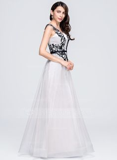 A-Line/Princess Scoop Neck Floor-Length Satin Tulle Evening Dress With Appliques Lace (017071581)
