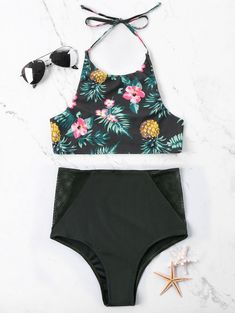 Tropical Pineapple Printed Halter Neckline Bikini - Floral M Strapless Swimsuit, Bandeau Swimsuit, Floral Bikini, Bikini Set, Bikini Outfits, Pineapple Print, Cute Swimsuits, Beachwear For Women, Bra Styles