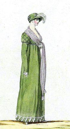 Walking Dress,1805. Regency Dress, Regency Era, Empire Clothing, Female Clothing, Pride And Prejudice, Fashion Plates, Fashion History, Georgian, Time Travel