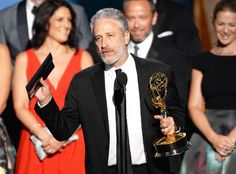 "John Stewart accepts the award for outstanding variety talk series for ""The Daily Show With Jon Stew. - Phil McCarten/Invision for the Television Academy/AP Jon Stewart, The Daily Show, Comedy Central, Hbo Go, Julia Louis Dreyfus, Trevor Noah, Amy Schumer, News Media, Award Winner"