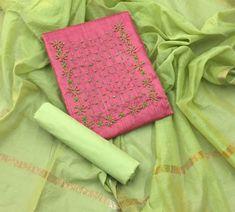 Salwar Kameez South And Central Asian Women Designer Indian Cotton Sawar Suit DD Embroidery On Kurtis, Kurti Embroidery Design, Hand Embroidery Dress, Embroidery Neck Designs, Embroidery Suits, Wedding Saree Blouse Designs, Saree Blouse Neck Designs, Churidar Pattern, Chudidhar Designs