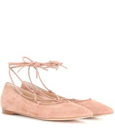 Femì rose suede lace-up ballerinas