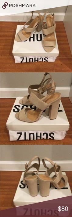Suede Schutz block heel sandals size 10 Schutz suede oyster colored block heel sandals in size 10. Also fit a 9.5. New in box! SCHUTZ Shoes Heels