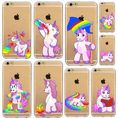 Funny Unicorn Rainbow Back Case Cover for iphone 4s 5 5s SE 5C 6 6s 6 plus coque