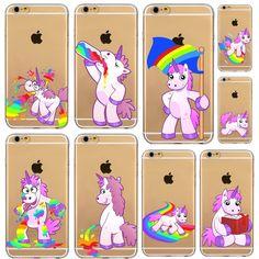Funny Unicorn Rainbow Back Case Cover for iphone 4s 5 5s SE 5C 6 6s 6 plus coque