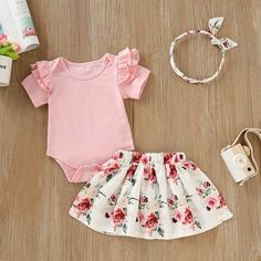 2pcs Baby Girl Purple Flower Strappy Lace Flounce Suspender Skirt Headband Outfit