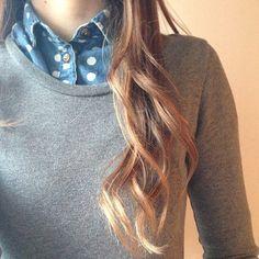 polka dots, pullover, hair.