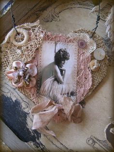 GYPSY THOUGHTS Burlap Heart and Vintage Lace by ParisRagsRomance, $15.00