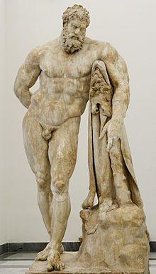 L'Hercule Farnèse est un type statuaire dont l'original est une sculpture grecque antique attribuée à Lysippe (ivesiècle av.J.‑C.).  Hercule y est représenté reposant sur sa massue recouverte en partie de la peau du lion, et il tient à la main les pommes du jardin des Hespérides.  Une copie du iiiesiècle ap. J.-C., signée par Glycon d'Athènes, a été découverte en 1546 dans les ruines des thermes de Caracalla.
