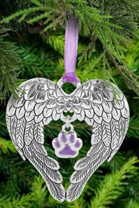Wings of an Angel Purple Paw Ornament at The Animal Rescue Site.. Aww love this.. for in memory of the furbabies you have lost... Oh yes I need to get this. even if we dont put up a tree I can still hang it up.