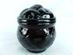 "Purple Amethyst Art Glass Fruit Plum Cherry Basket Weave Dish Trinket with lid, 4""H x 4.5""D"