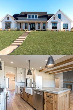 Modern Farmhouse Exterior, Farmhouse Style Kitchen, Farmhouse Interior, Modern Farmhouse Kitchens, Farmhouse Decor, Texas Farmhouse, Farmhouse Sinks, Modern Farmhouse Style, Farmhouse House Plans