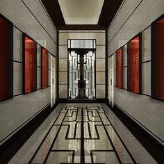 The entrance of Villa Meissen, Milan, Italy. The glass panelled doors by Gio Ponti, ca.1950s. / Meissen