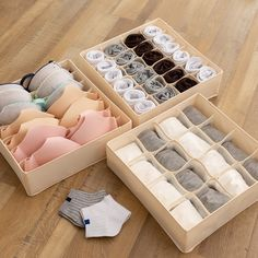 Underwear Storage Box Drawer Organizer To keep those small clothing items in a single place right where you need them, w Underwear Storage, Underwear Organization, Sock Organization, Wardrobe Organisation, Clothing Organization, Dresser Drawer Organization, Cupboard Organizers, Small Drawer Organizer, Wardrobe Storage Boxes