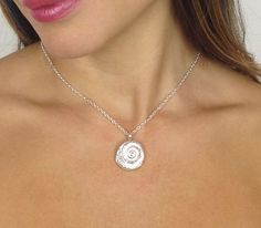 Silver shell fossil necklace marycolyer.com