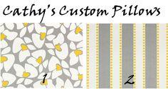 CURTAINS PREMIER FABRIC Storm Grey White Yellow Cotton Two Drapery Panels 50 x 108 Choose Stripes Petals. $139.00, via Etsy.
