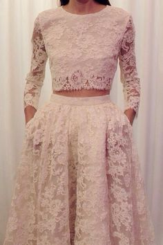 Long sleeve lace fitted crop top & full high waisted lace skirt