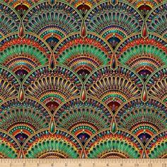 Lumina Metallic fans Jewel tone fabric Per Fat Quarters/ Egyptian revival, Robert Kaufmann fabric/ Quilting /Home Decor/ Pillow accents