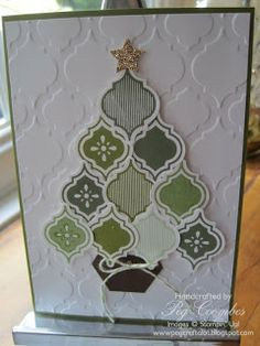 Stampin up mosaic madness stamp set and embossing folder. Hexagon punch for trunk.