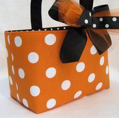 Halloween Trick or Treat Bag Basket Bucket - Orange with White Dots