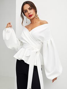 Buy DEEBAI Women's Elegant V Neck Puff Sleeve Tunic Tops Belted Wrap Dressy Shirt Blouse online - Alltoclothing Outfits Casual, Komplette Outfits, Casual Shirts, White Shirt Outfits, Sexy Shirts, Blouse Peplum, Peplum Tops, Blouse Neck, Sexy Blouse
