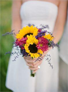 Wildflower Wedding Bouquet, Sunflower Bridal Bouquet, Bridesmaids ...
