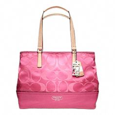 Coach Summer in the Hamptons Weekender Signature Colorblock Medium Tote in Hot Pink :):):)