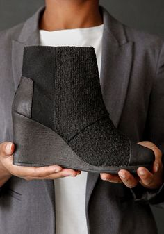 Take your style to new heights with TOMS Desert Wedge. Give back with every pair you purchase. Toms Desert Wedges, Black Wool Coat, Nice Clothes, Children In Need, Dream Shoes, Shoe Collection, Fashion Beauty, Addiction, Cool Outfits
