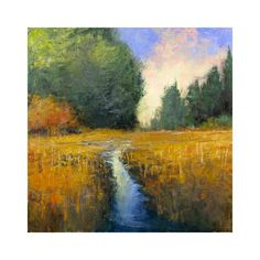ARTFINDER: A Small Stream by Don Bishop - A Small Stream is a nice colorful plein air impressionist style landscape oil painting, created using palette knives and brushes. This 10x10 has lots of nice...