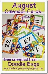 Doodle Bugs Teaching has FREE calendar cards for every month