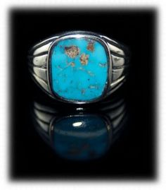 Mens Turquoise Ring by Dillon Hartman with natural Villa Grove Turquoise from Colorado, USA