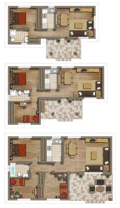3 floor plans by on DeviantArt Small House Plans, House Floor Plans, Model House Plan, Apartment Floor Plans, Floor Plan Layout, Sims House, Small House Design, House Layouts, Architecture Plan