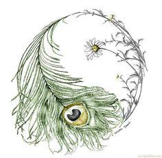 Creative Peacock Tail Yin Yang Artwork ❥❥❥ http://bestpickr.com/yin-yang-tattoos